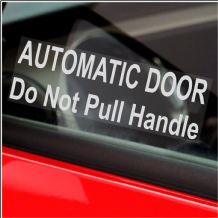 2 x Automatic Door-Do Not Pull Handle-WINDOW Stickers-White on Clear Mini Cab,Taxi Minicab Signs